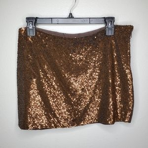 Haute Hippie S Bronze sequin silk mini skirt